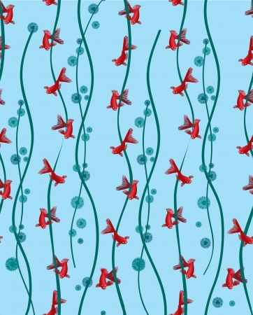 Goldfish seamless pattern  Background with fish in blue and turquoise algae Vector
