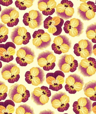 floral seamless pattern with dark red and yellow pansy Vector