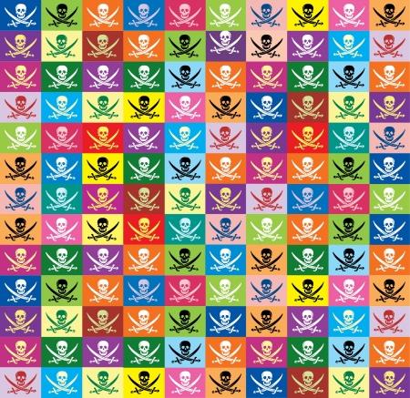drapeau pirate: pirate sans soudure de fond de drapeaux multicolores Jolly Roger Illustration