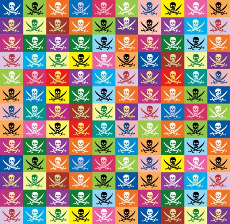 pirate seamless background from multicolor flags jolly Roger Vector
