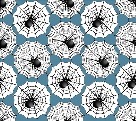 seamless pattern with spiders on blue background  Halloween texture  Vector