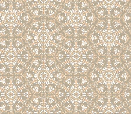 beige stof: bloemen mozaïek naadloze patroon kaleidoskope achtergrond Stock Illustratie