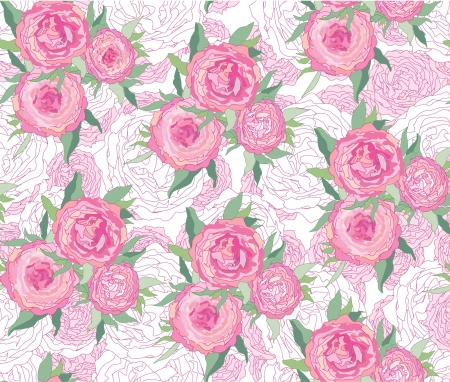 floral background  seamless pattern with gentle rose   Vector