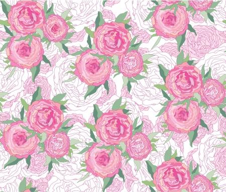 rose garden: floral background  seamless pattern with gentle rose   Illustration