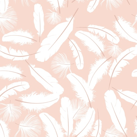 seamless pattern with white feathers on beige background  Vector