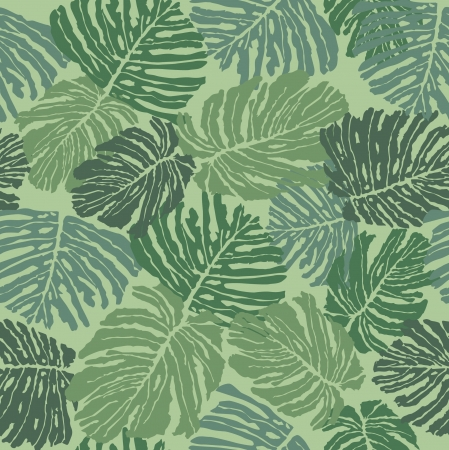 leaves fern seamless pattern  Green background Vector