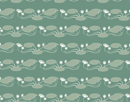 floral seamless background with flowers water lily in a retro style Vector