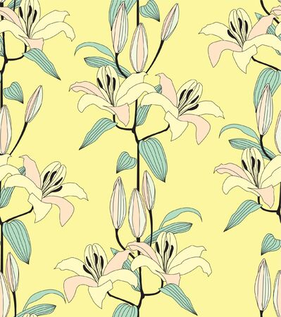 seamless pattern from gentle lily  floral background  Vector