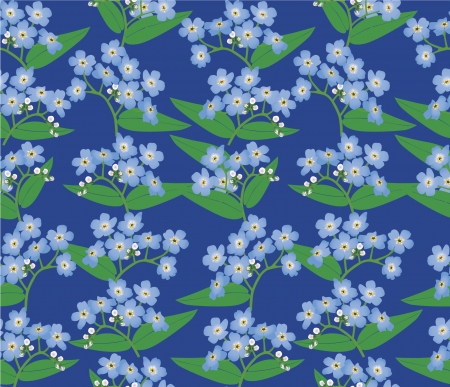 floral seamless background  blue flower forget-me-not  Vector
