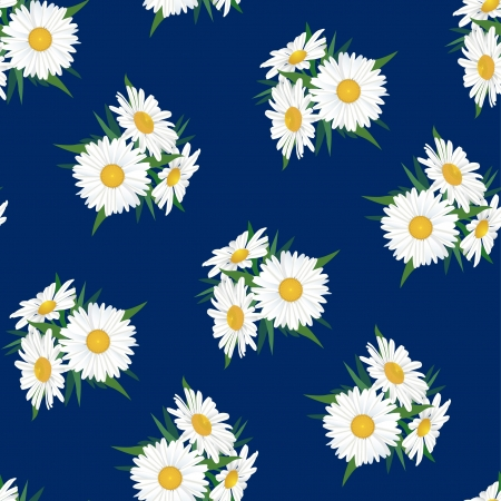 floral seamless pattern  chamomile bouquet background Vector
