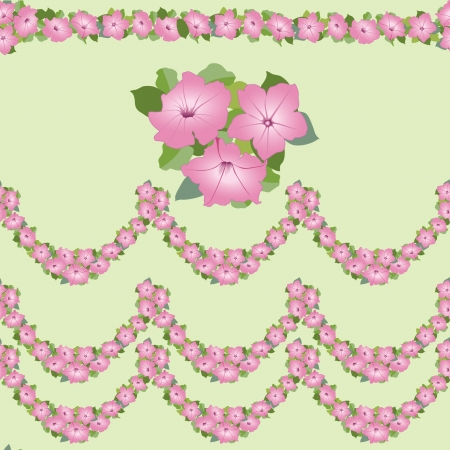 flpral seamless border with pink flowers petunia garland Vector