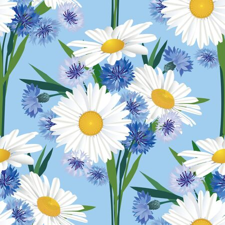 Seamless floral pattern with flowers chamomile and cormflower Vector