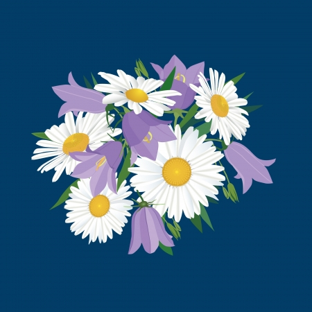 bluebells: flower bouquet with bluebell and chamomile
