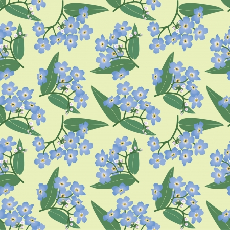 floral seamless pattern. flower bouquets forget-me-not  Vector