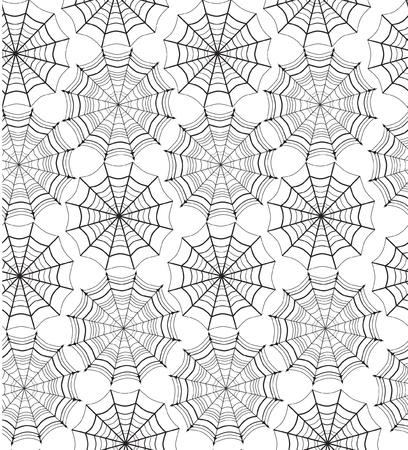 spider web: Web seamless pattern on white background  Halloween texture   Illustration