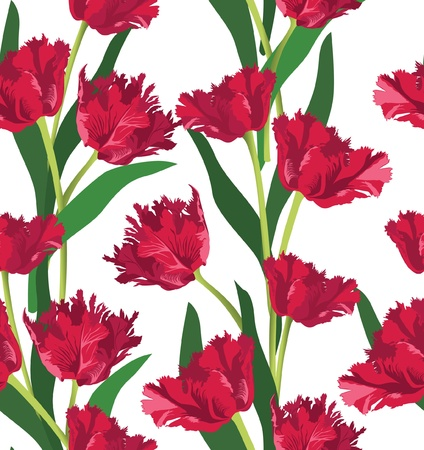 stencil art: Red tulips seamless floral pattern on white background