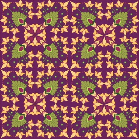 textile image: Floral seamless pattern with flower in a retro style on vinous background