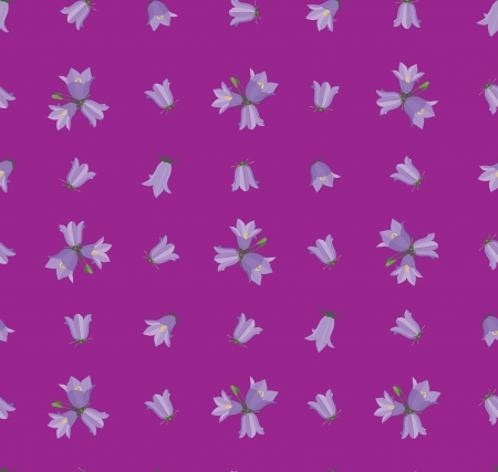 seamless pattern with flowers bluebell on violet background Vector