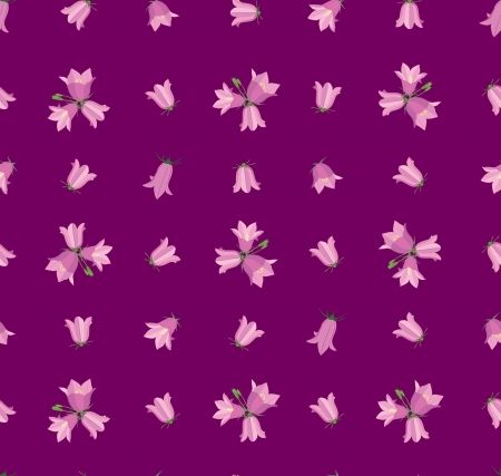 seamless pattern with flowers bluebell on purple background Stock Vector - 16140086