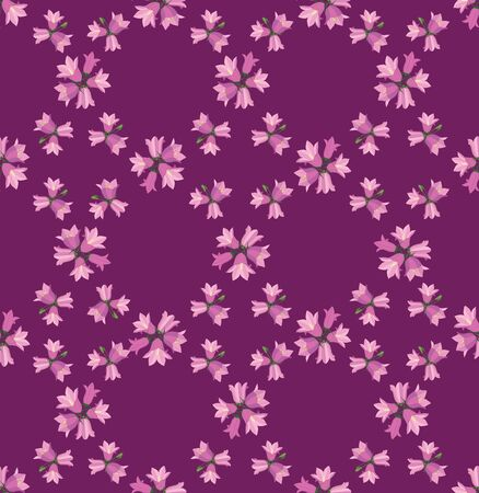 bluebell: seamless pattern with flowers bluebell on pink background Illustration