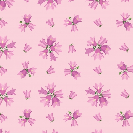 floral seamless pattern with flowers bluebell on pink background Vector