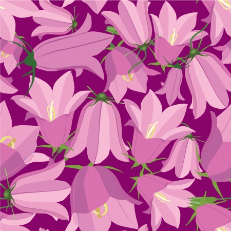seamless pattern with flowers bluebell on pink background Illustration