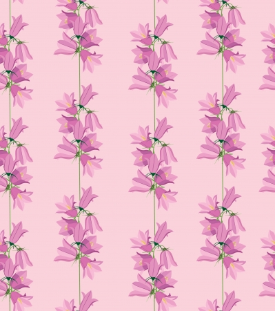 bluebell: seamless pattern with flowers bluebell on pink background