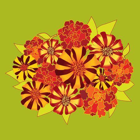 velvet ribbon: Flower bouquet with  red and yellow flowers velvet ribbon