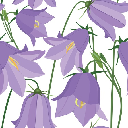 bluebells: flower seamless pattern  Floral background with bluebells