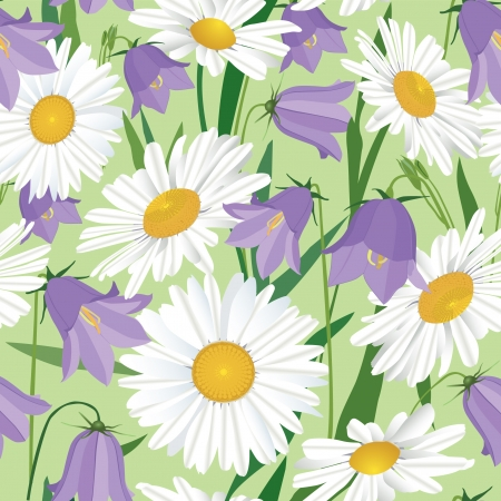 floral seamless pattern  Flower background with lilac bluebells and chamomile  Vector