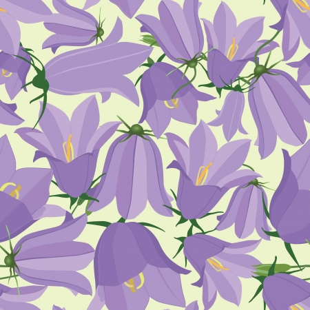 flower seamless pattern  Floral background with lilac bluebells Vector