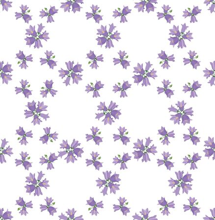 seamless floral pattern  Ornamental background with lilac and pink bluebells Vector
