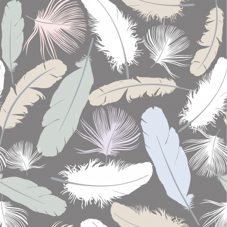 seamless pattern with white feathers on gray background Stock Vector - 16139960