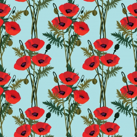 poppy field: flower poppy seamless pattern, floral background  Illustration