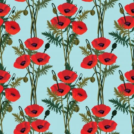 poppy field: patr�n de flor de amapola sin problemas, fondo floral