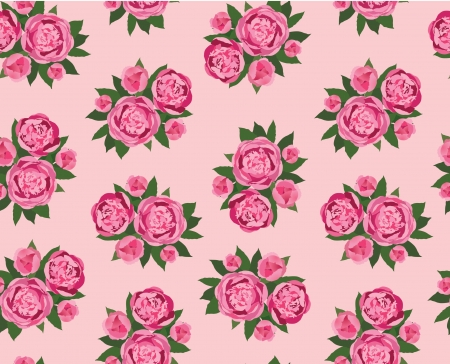 pale green: floral seamless pattern  pink flower peony background Illustration