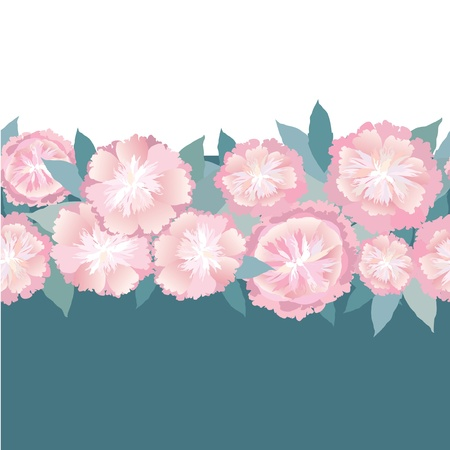 floral seamless border  pink flower garland background Vector