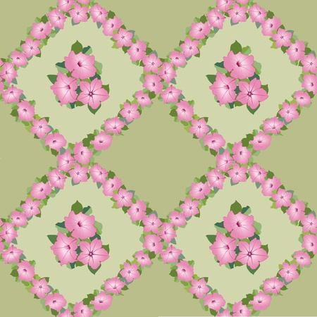 floral seamless pattern  pink flower garland background Vector
