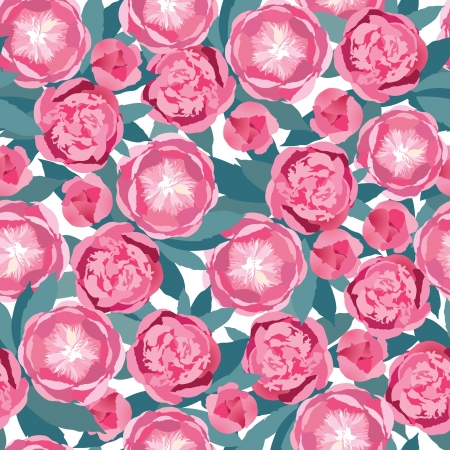 spring bed: floral seamless pattern  white and pink flower background Illustration