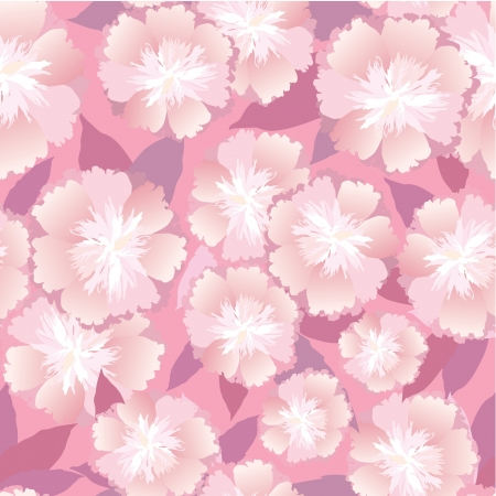 peonies: floral seamless pattern  white and pink flower background Illustration