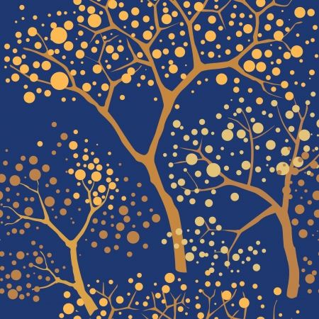 seamless pattern with garden trees on dark background  Vector