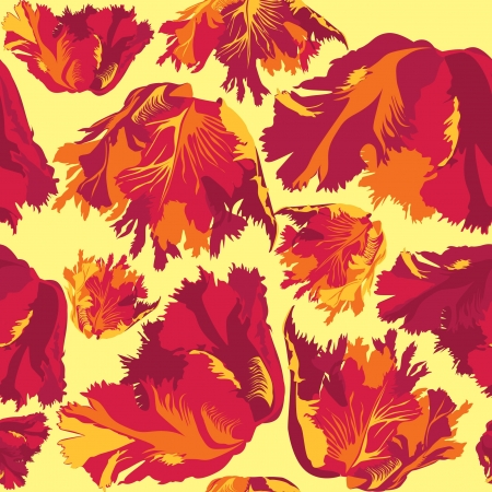 Red tulips seamless floral pattern on yellow background Vector