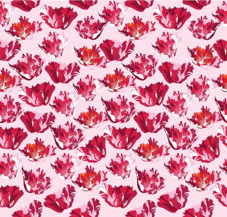 crimson: Red tulips seamless floral pattern on white background