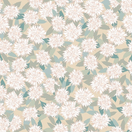 biege: seamless floral pattern  white flowers on gray background