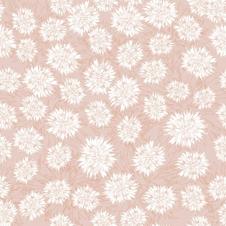 biege: seamless floral pattern with white and lilac flowers on gray background
