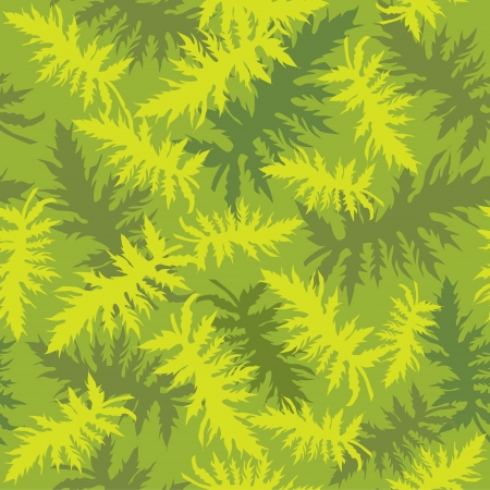 seamless floral pattern with leaves on green background Vector