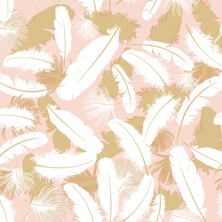 seamless background with white feathers  Stock Vector - 16227989
