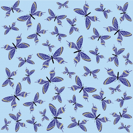 pastiche: seamless background with blue butterflies