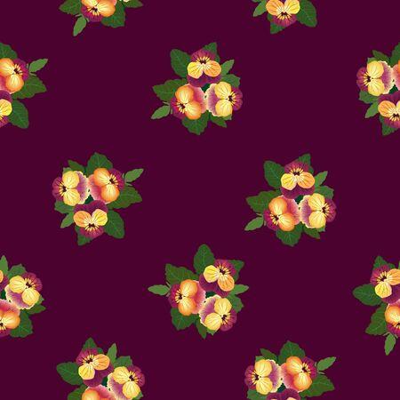 burgundy background: seamless pattern withflower heartsease on purple background Illustration