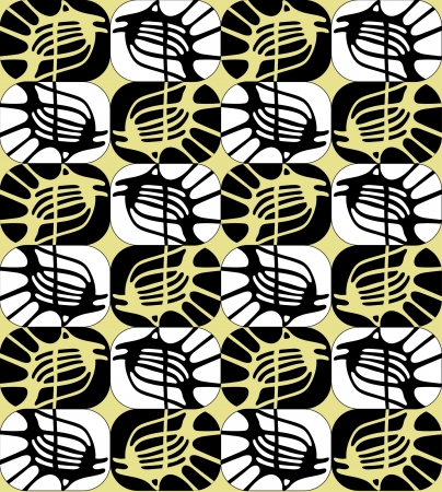 sea urchin: seamless pattern of geometric shape fish in retro style 1960s
